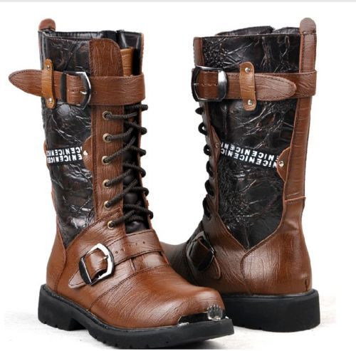 Punk Rock MENS BLACK GOTH PUNK ROCK BAND BUCKLE BOOTS #981 | eBay