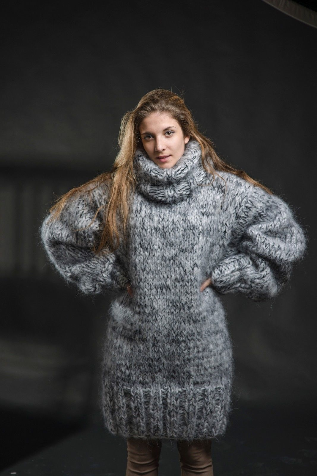 hand knit mohair sweater cozyknittings white black Turtleneck ...