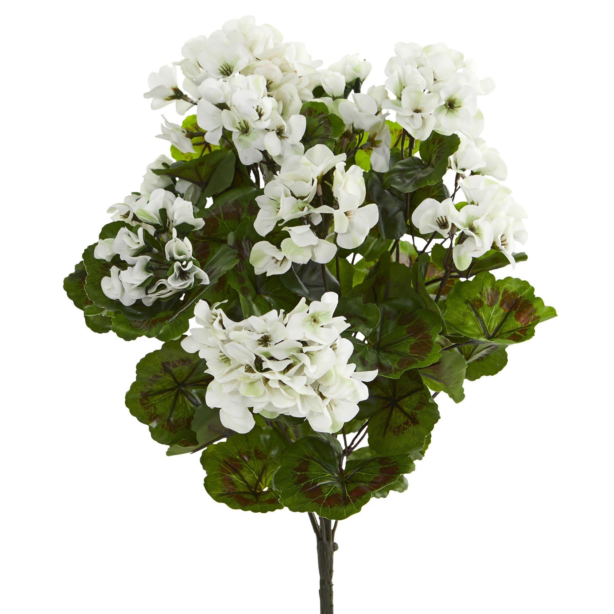 19 White Geranium Artificial Bush Uv Resistant Set Of 3 Sofa Tables