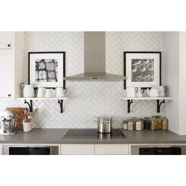 Kitchens Silestone Grey Expo Subway Tiles Backsplash Herringbone Pattern White Shelves Flanking Cooktop Black