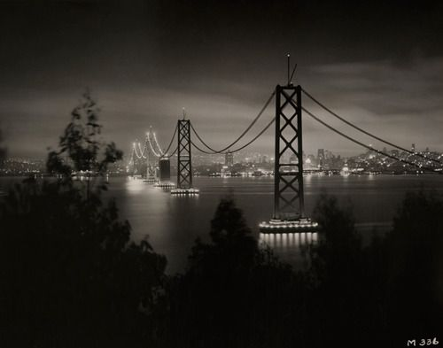 The San Francisco-Oakland Bay Bridge from Yerba Buena Island in 1936.Photograph by the California State Department of Public Works