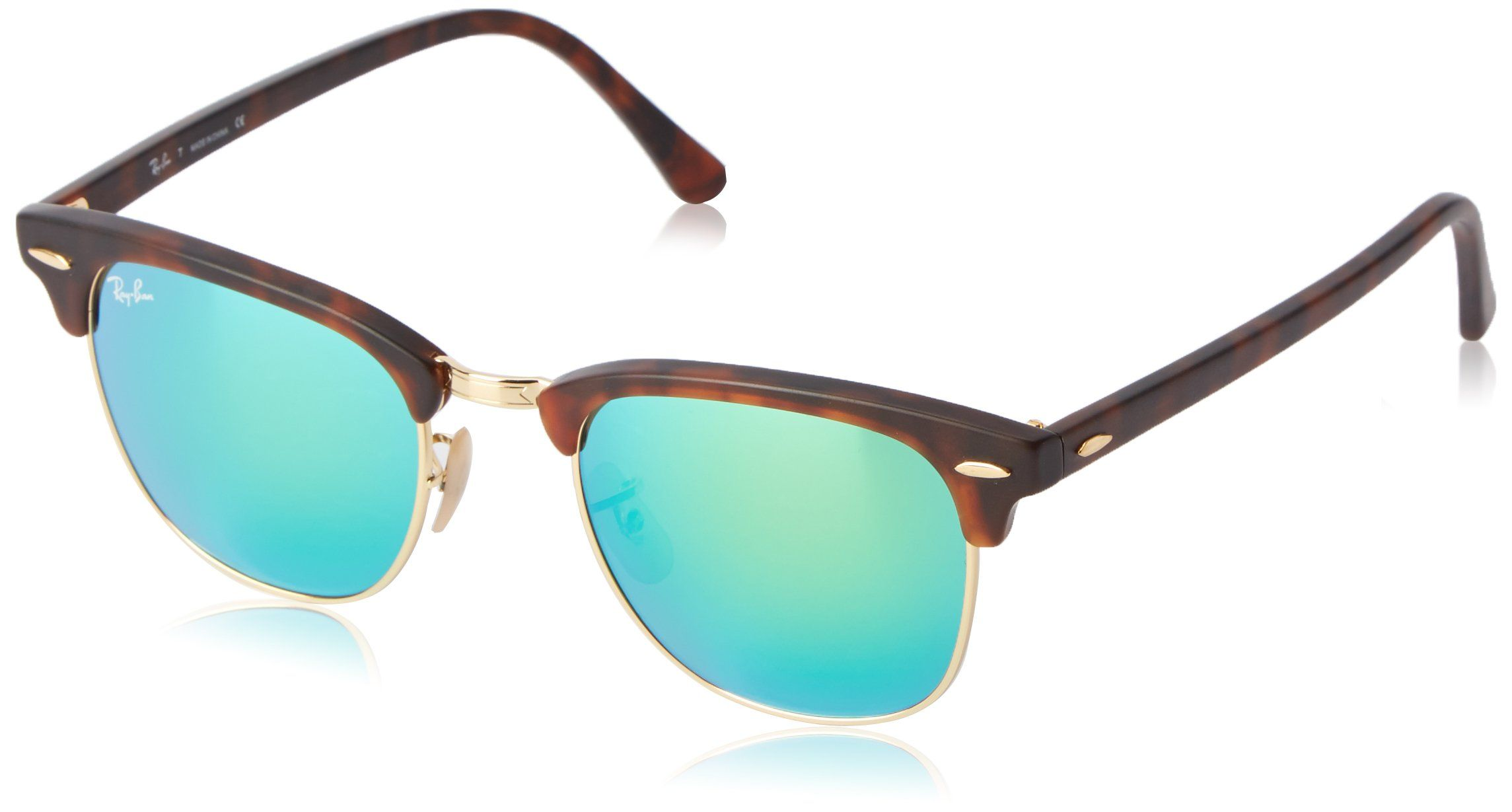 342d96482 Amazon.com: Ray-Ban RB3016 Classic Clubmaster Sunglasses, Non-Polarized,  Tortoise/Arista Frame/Crystal Green Lens, 51 mm: Ray-Ban: Clothing