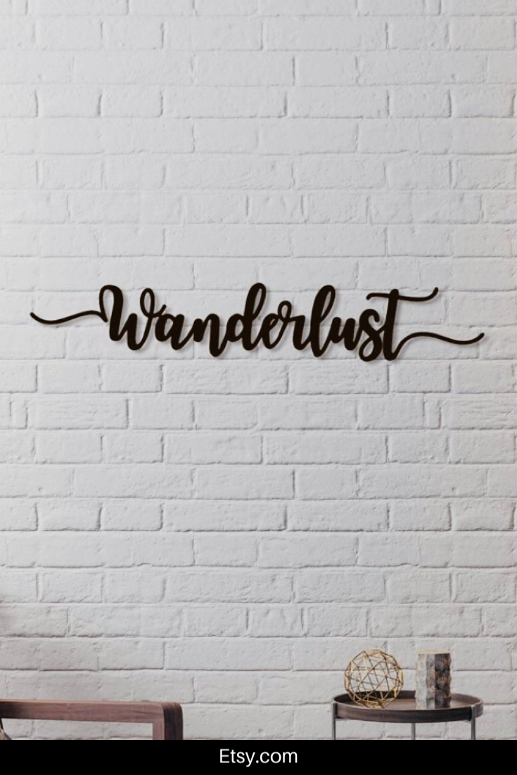 Wanderlust Metal Word Wall Art Home Decor Hanging Sign Gift Words
