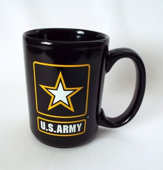 U S Army Coffee Mug Military Patriotic Star Black