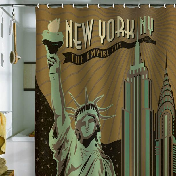 Cool Shower Curtain For Bathroom New York Liberty Statue Empire