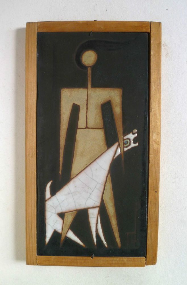 PANOS VALSAMAKIS Vintage Modernist Art Pottery TILE. Greek Framed Figure  Dog