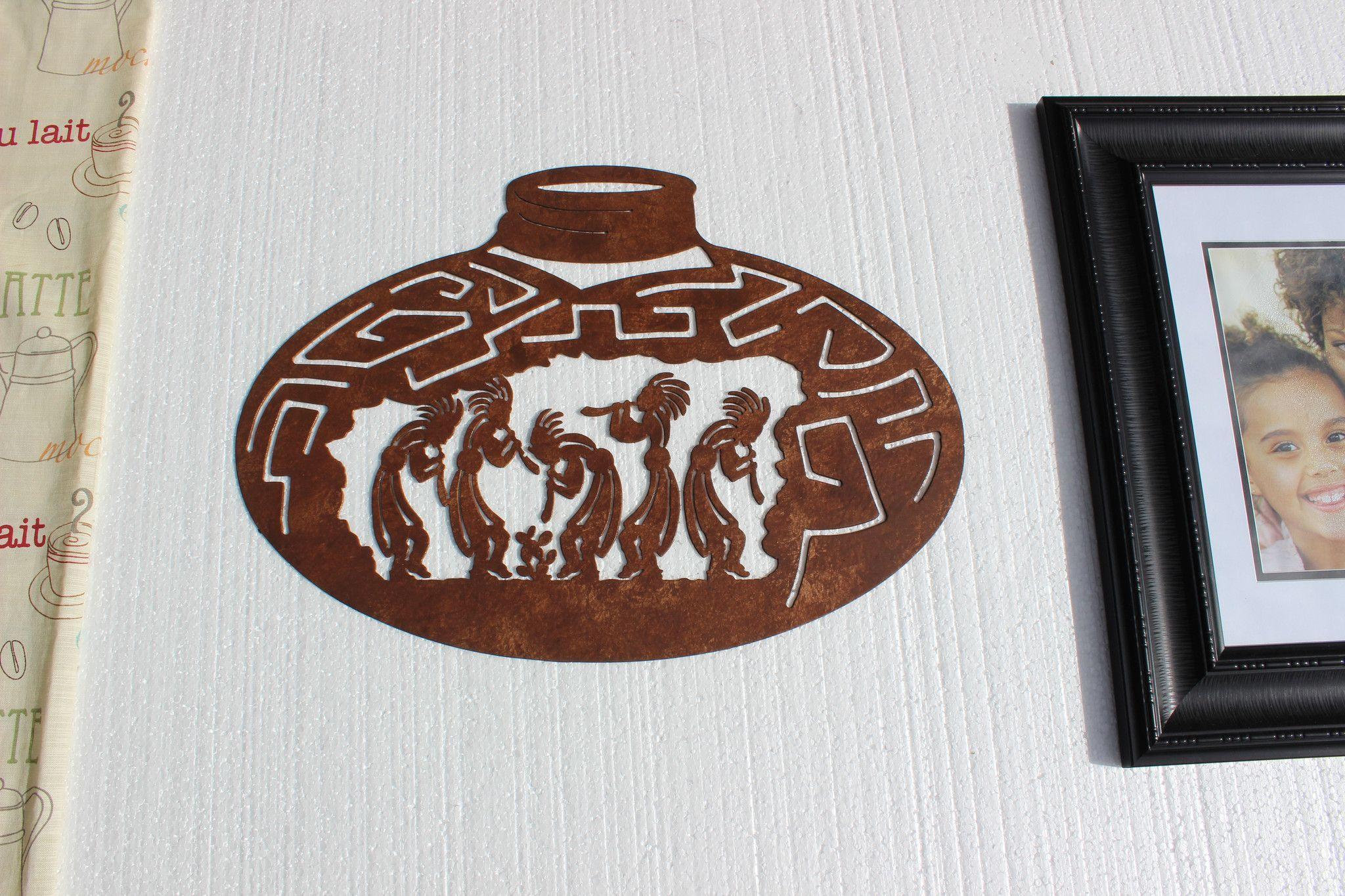 Kokopelli Wall Art kokopelli dancers on large pot metal wall art | large pots, metal
