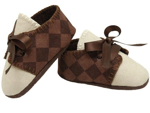 Excellent Pink2Blue's Lucas Baby Boy Golf Shoe/Booties. Brown Checked, Linen  KI99