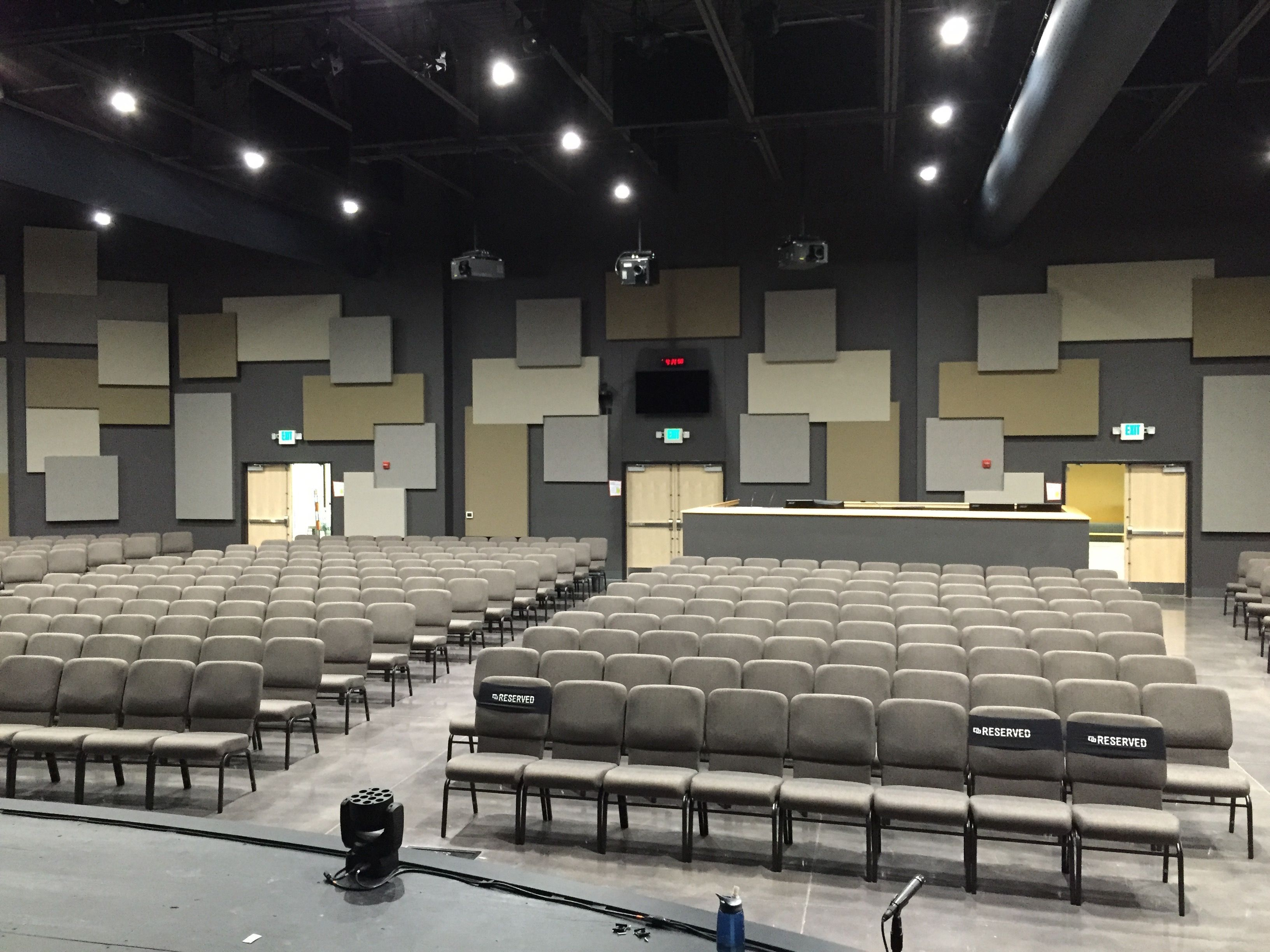 North View church sanctuary in Fishers IN Black out ceiling