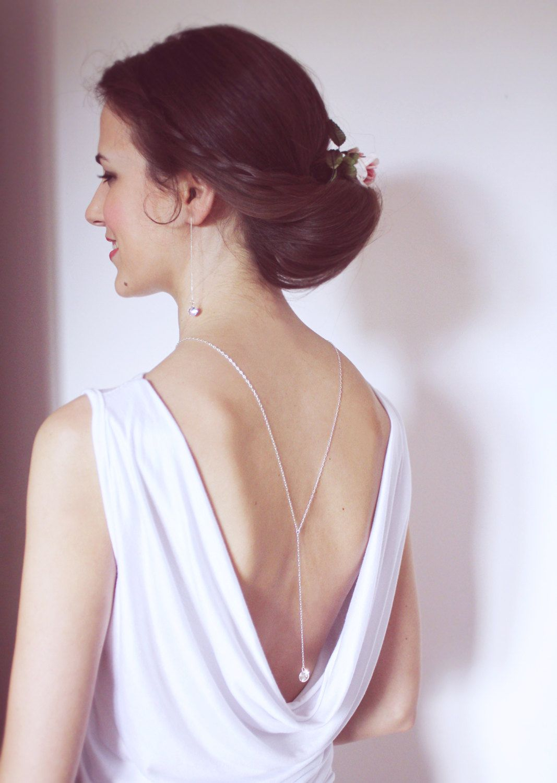 Light back chain backdrop necklace bridal jewelry set back drop