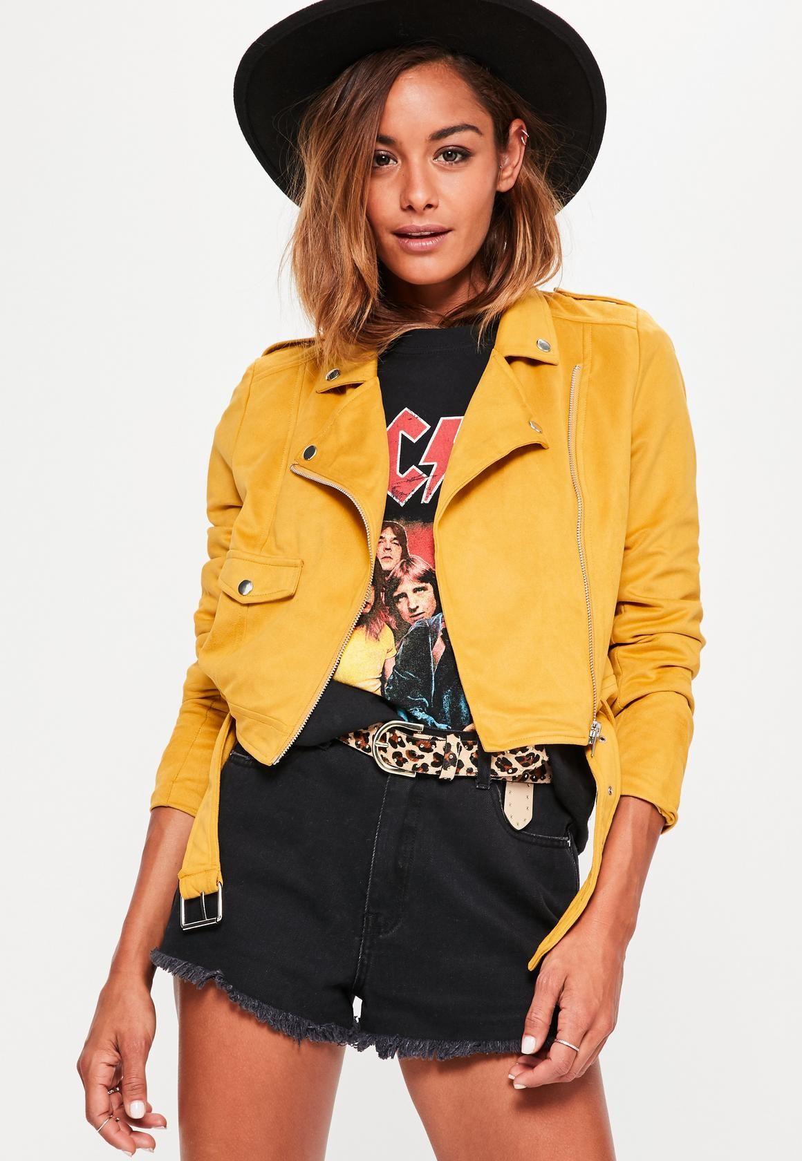 ee083538f4d4 Missguided - Faux Suede Belted Biker Jacket Mustard
