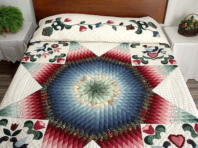 Pennsylvania Dutch Star Quilt -- outstanding adeptly made Amish Quilts from Lancaster (hs2469)