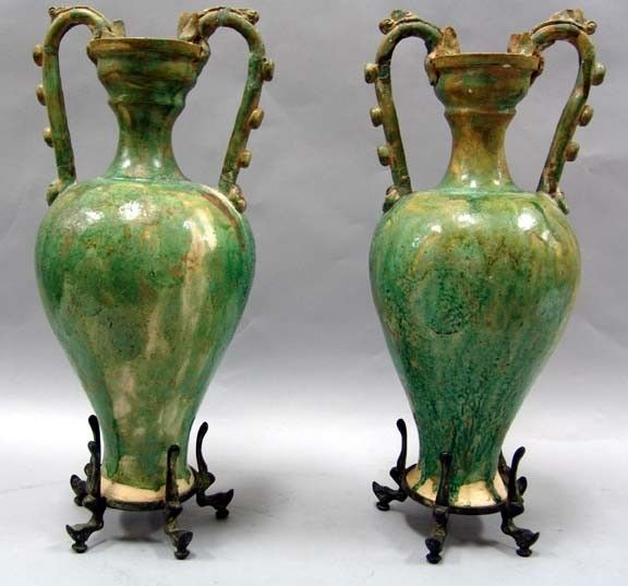 Pair Of Chinese Tang Dynasty Vases Green Glazed Pottery With Dragon
