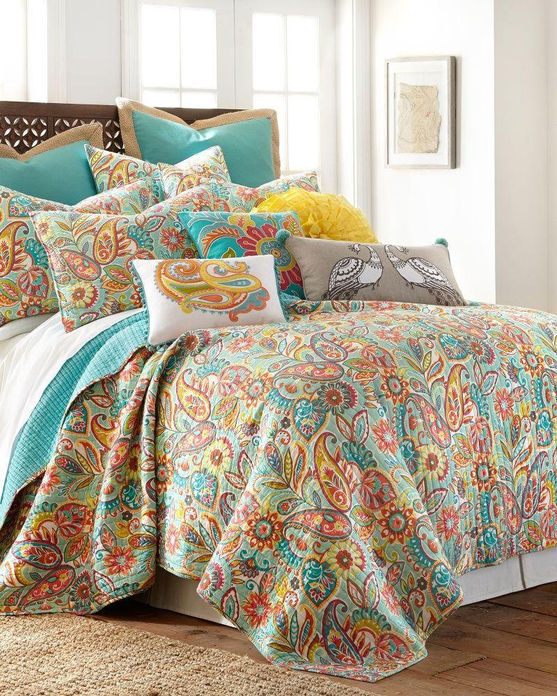 daphne v bedding paisley medallion quilts blue quilt p