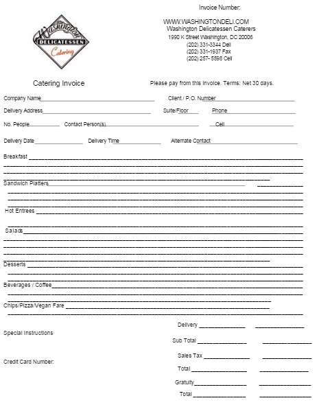 Catering Invoice Template   Catering Invoice Templates