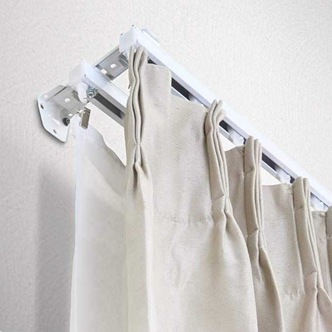 New White Double Curtain Track Kit 36 Inch
