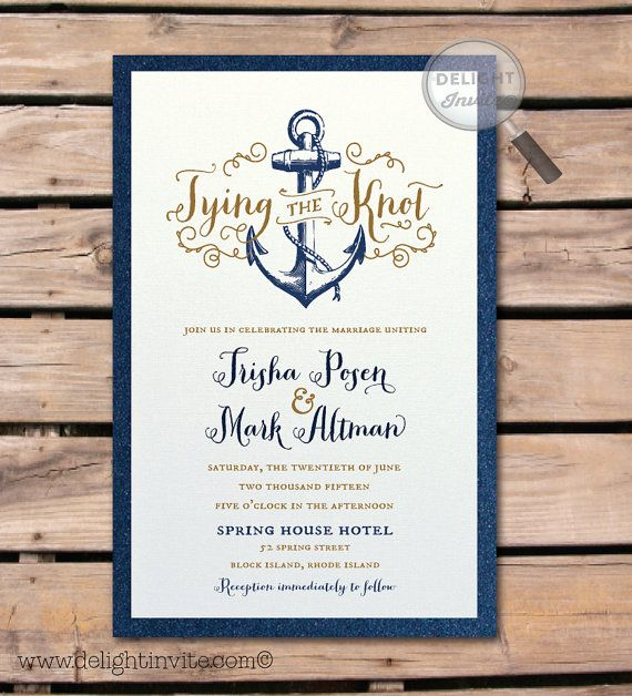 Rhode Island Wedding Invitation Printed: Rustic Anchor Nautical Wedding Invitation And By