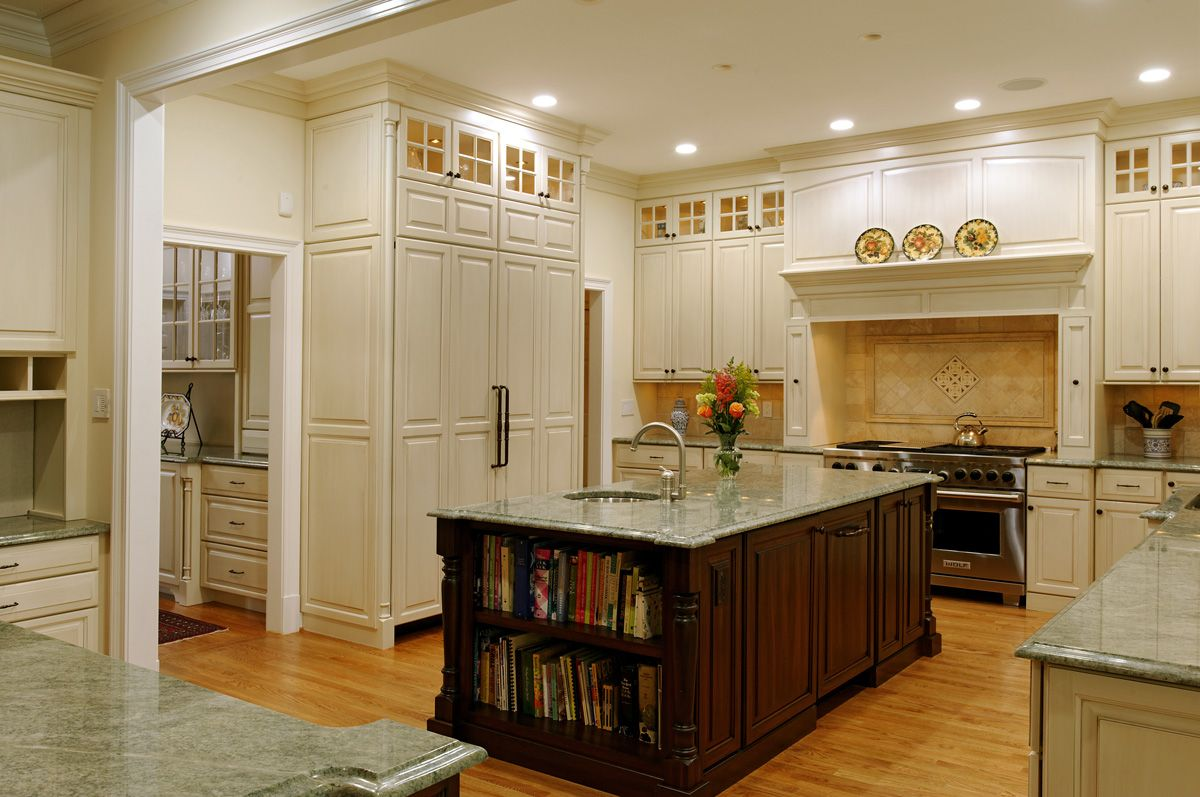 Kitchen Hood Designs Ideas Part - 26: Deluxe Kitchen Set With Wooden Floor Also White Cabinet Set And Gray  Granite Countertop Idea Also