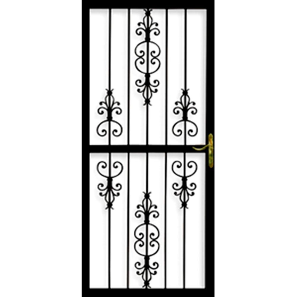 Grisham Heritage 36 In X 84 In Black Steel Left Hinged Security Door Black Gloss Steel Security Doors Security Door Wrought Iron Security Doors