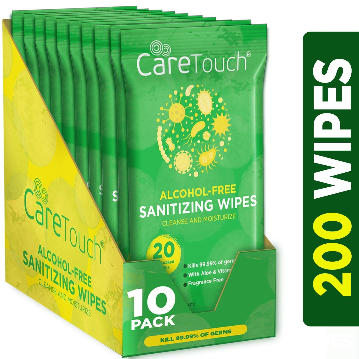 Care Touch Alcohol Free Hand Sanitizer Wipes 10 Travel Packs Of