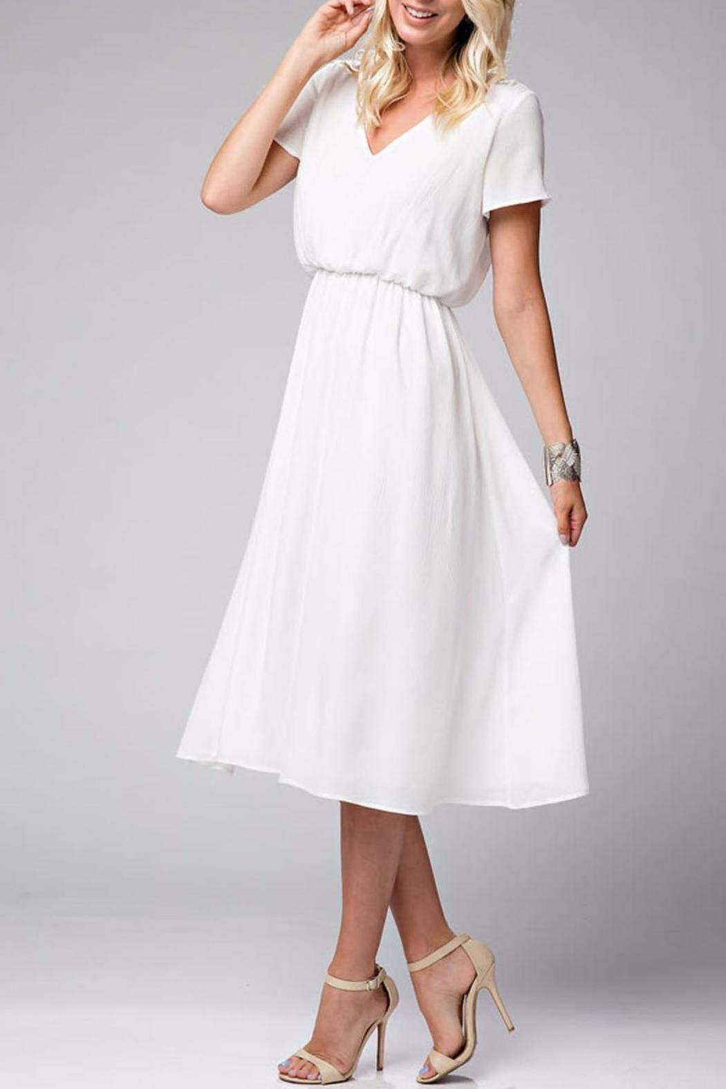 9bbbb76d2d2a Gorgeous white midi chiffon dress featuring a v neck short sleeves and an  elastic waist. Lightweight flowy fabric that drapes well.