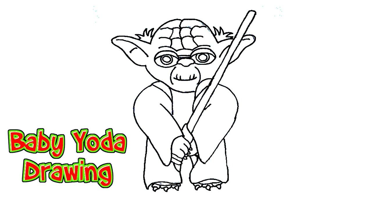 How To Draw Baby Yoda From The Mandalorian Easy Yoda Drawing Online Art Tutorials Art Tutorials Drawing