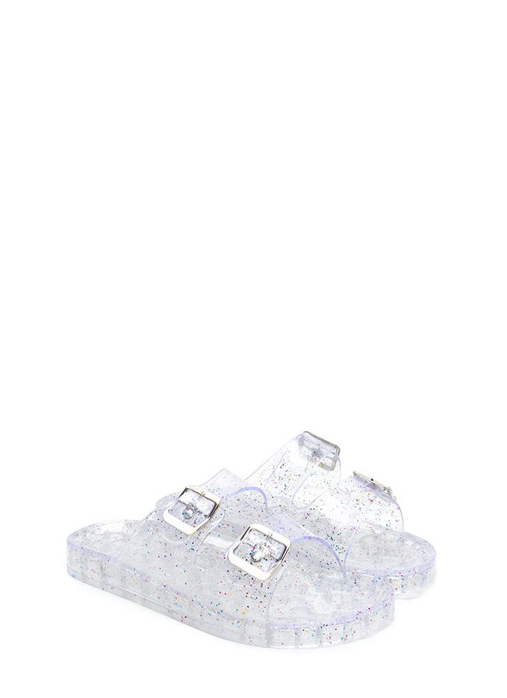 hot sale online 37106 f3a4b Clearly Glitter Jelly Slide Sandals GoJane.com