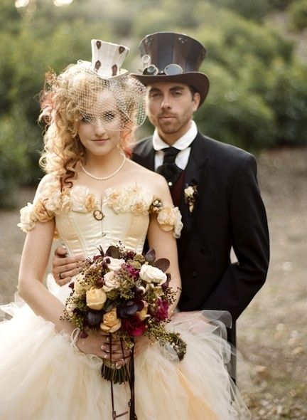 steampunk bride and groom- these people are way too cool!!!