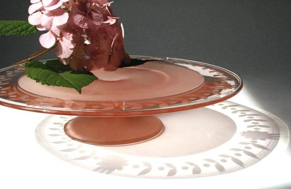 vintage cake stand pink frosted glass etched by cristinasroom.