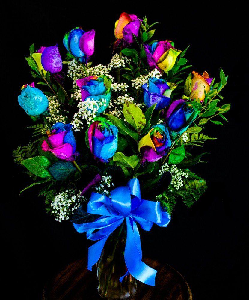 Rainbow roses arragnements rainbow rose arrangement for Rainbow colored rose