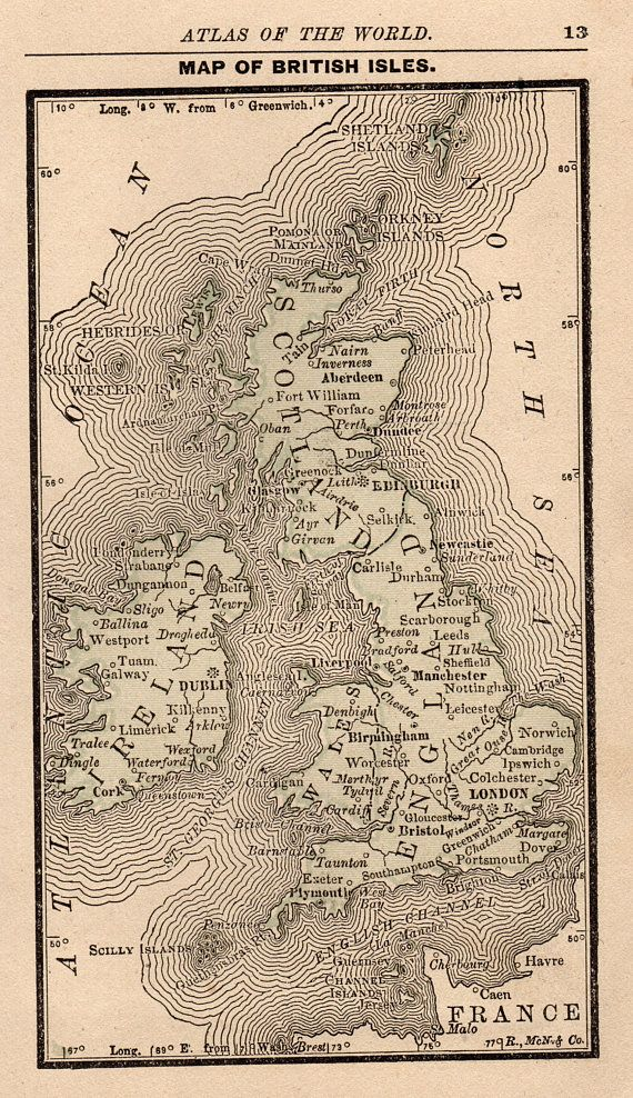 Antique british isles map united kingdom map rare size 1888 antique british isles map united kingdom map rare size 1888 miniature map gallery wall art office gumiabroncs Gallery