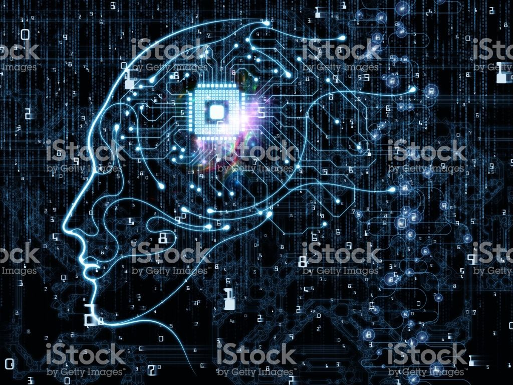 Cpu Mind Series Backdrop Composed Of Human Face Silhouette And