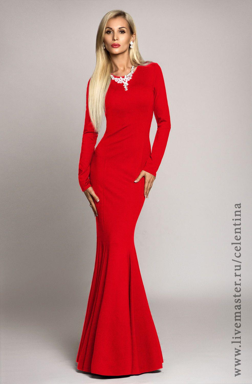 1a1389cb17fa132 Купить Длинное платье, красное платье, теплое осеннее платье в пол,  вечернее - ярко-красный