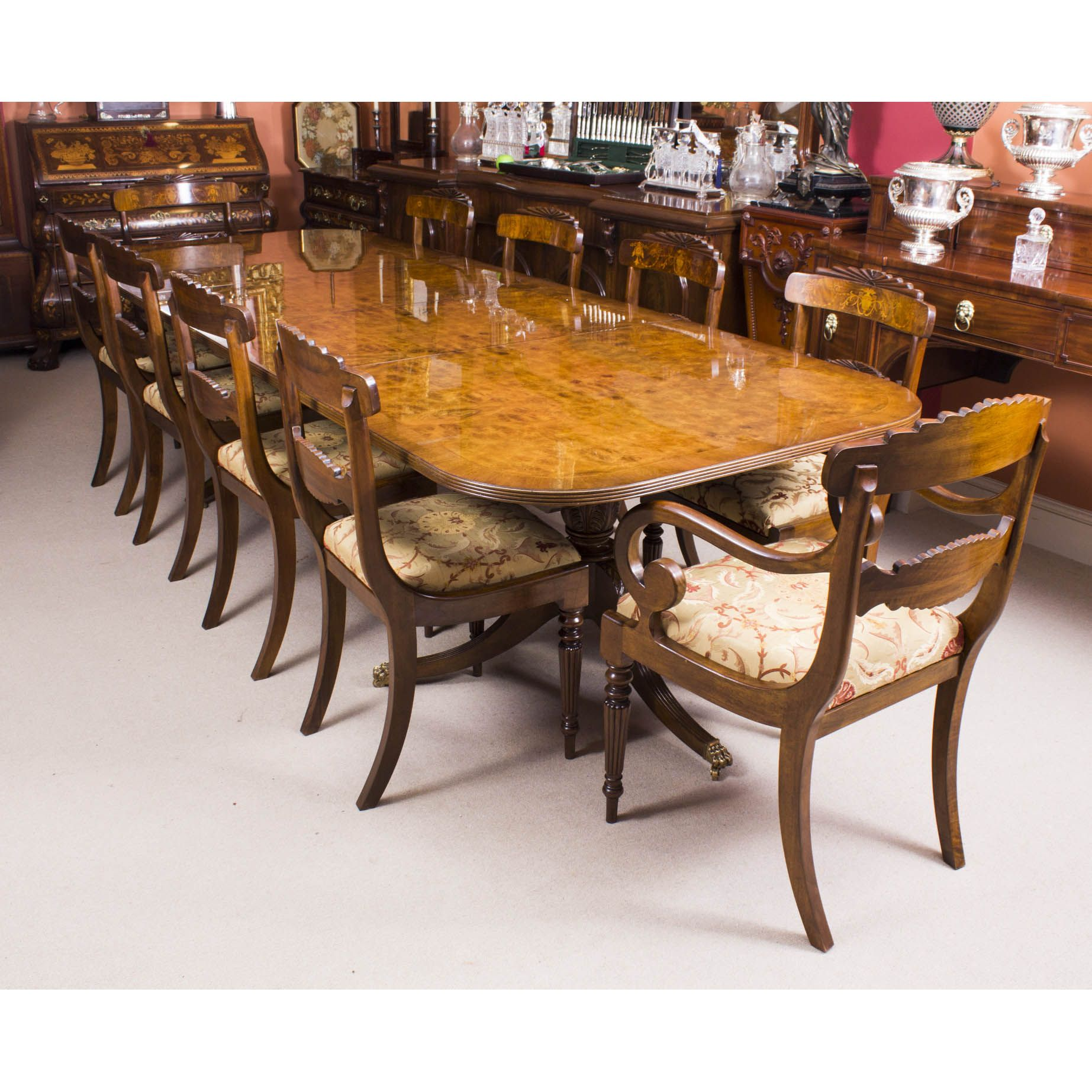 A Striking Handmade Regency Style Dining Table In Burr Walnut With Beauteous Handmade Dining Room Chairs Design Inspiration