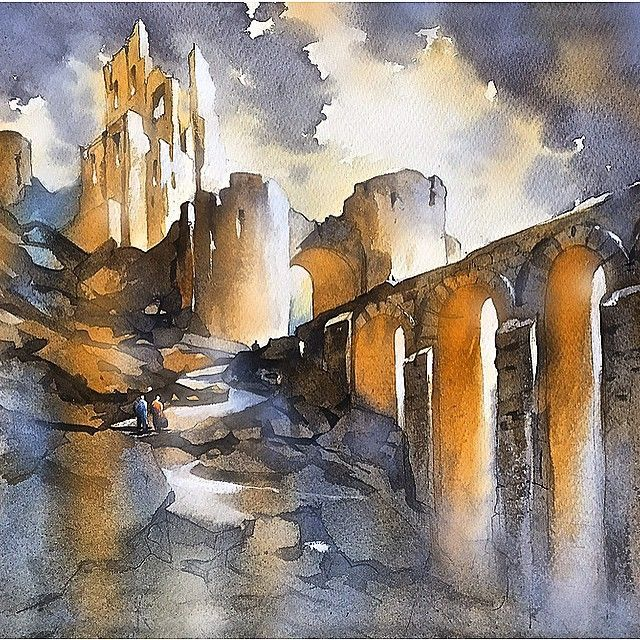 Core Imagined Castle Dorset Uk Watercolor Watercolour Watercolorpainting Art Light Shadow Thomaswschaller Med Billeder Akvarel