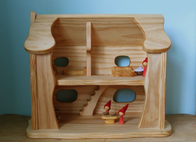 Crafty Wood Natural Wooden Dolls House Crafty Wood