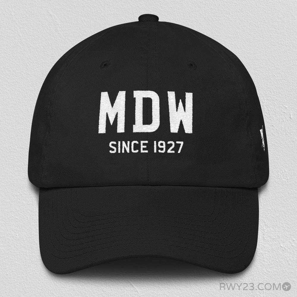 MDW Chicago Dad Hat • Since 1927 • Airport Code & Opening Year • Varsity Style Design