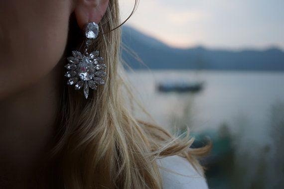 Odette  Translucent Swarovski Statement Earrings by Bayila on Etsy, $115.00