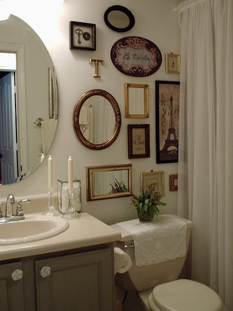 Mirror Mirror On The Wall Shabby Chic Bathroom Bathroom Gallery Wall Bathroom Decor