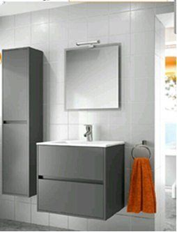 Modern Bathroom Furniture Vanity Set Noja 36 Matte Grey Made In Spain Europe Cabinet Sink Amazon Home Kitchen Bagno