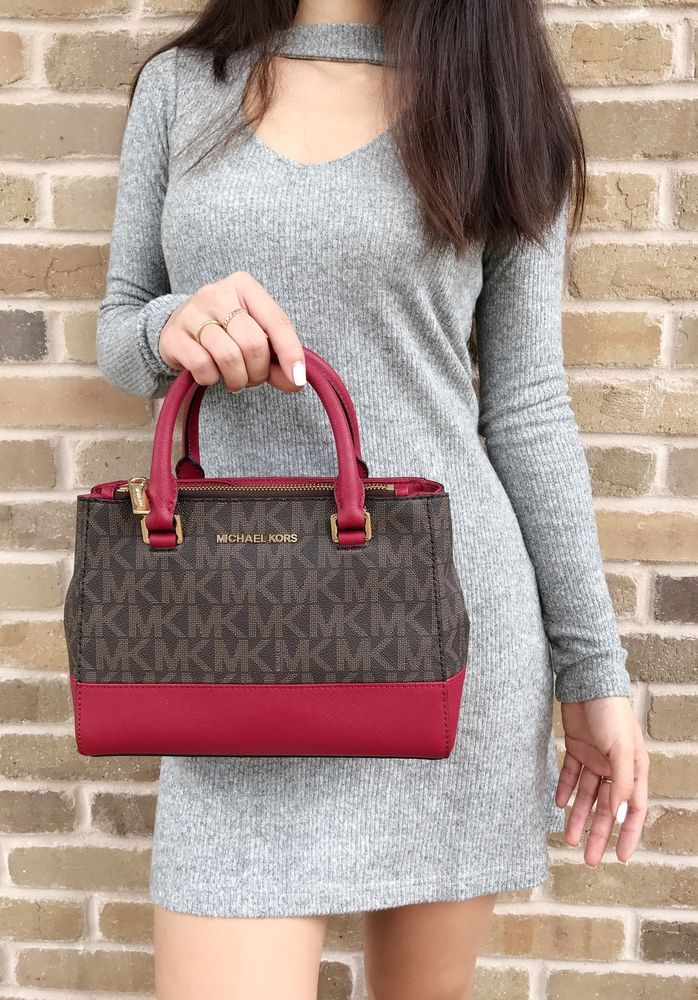 6264baa4ae6f Michael Kors Kellen XS Satchel Brown MK Signature Cherry Red Small  Crossbody Bag #MichaelKors #Satchel