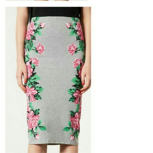 "Grey and pink knee length skirt Beautiful grey and pink skirt. Knee length  (I'm 5'5""). New without tag. Elastic waistband Skirts Midi"