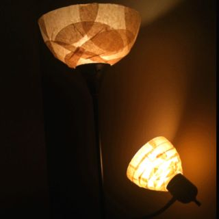 Upcycled coffee filter lamp shade.