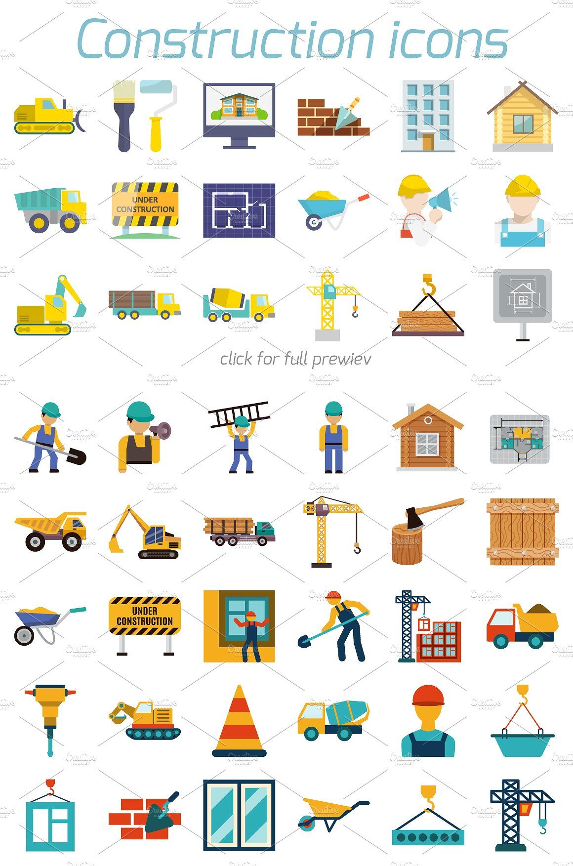 48 Construction Icons In Flat Style Engenharia Civil Cartao De