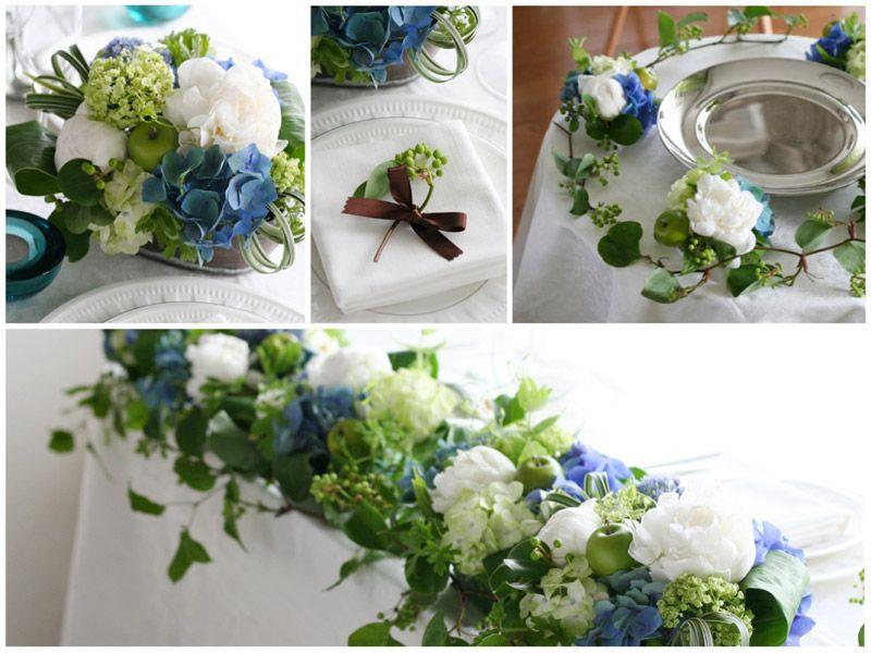 会場装花イメージ:フレッシュブルー,青,白,ホワイト,あじさい,. 結婚式