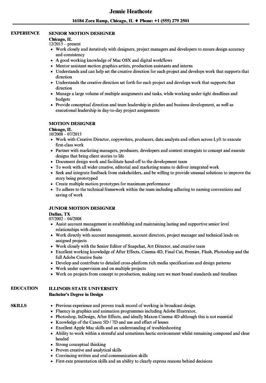 Motion Designer Resume Samples Project Manager Resume Resume Examples Job Resume Samples