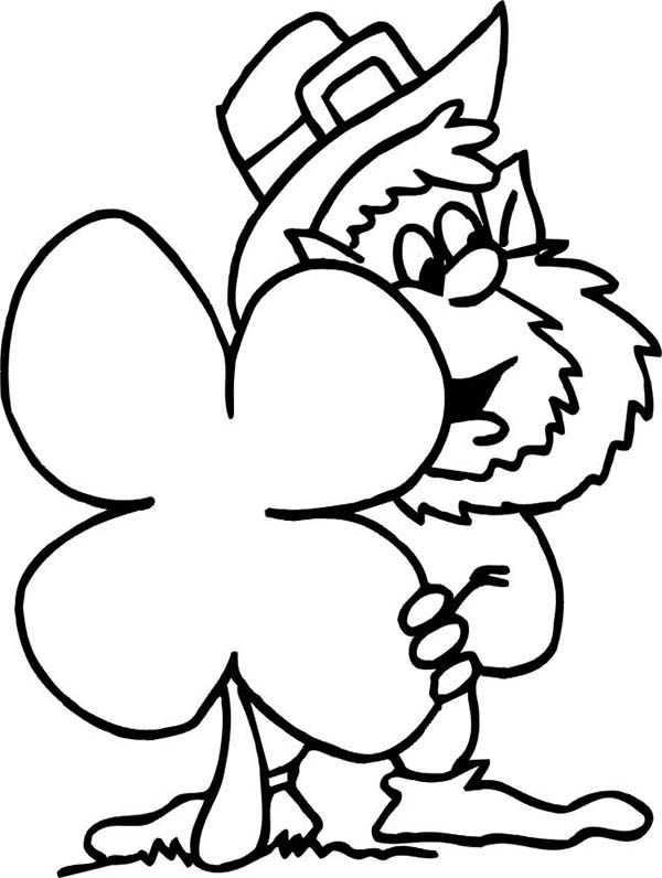 funny leprechaun hidding behind giant four leaf clover coloring
