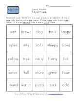 First Grade Adjective Worksheets Adjective Worksheet Nouns And Verbs Worksheets Kindergarten Worksheets Sight Words