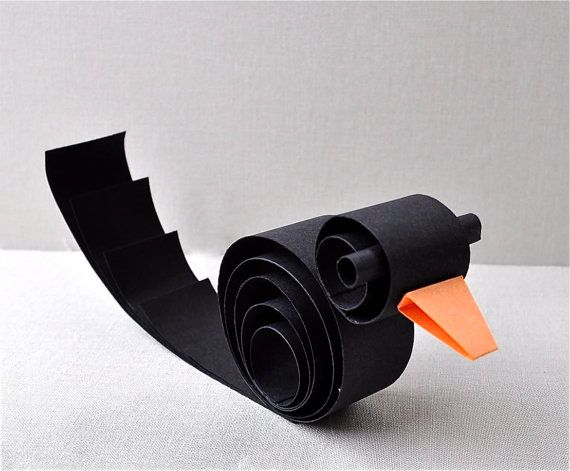 Paper black bird Crow, raven, halloween party favor, office decor - halloween decorations for the office