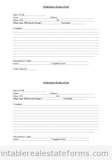 free rental property maintenance request printable real estate